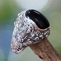 Men's onyx ring, 'Black Sunflower' - Men's onyx ring