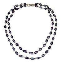 Pearl strand necklace, 'Black Glow' - Pearl strand necklace