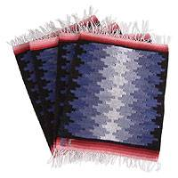 Wool placemats, 'Jigsaw Puzzle' (set of 4) - Set of 4 Hand Woven Wool Placemats from Peru