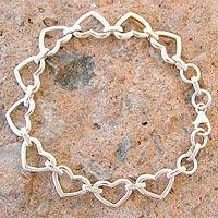 Sterling silver heart bracelet, 'India Hearts' (India)