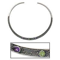 Amethyst and peridot choker,