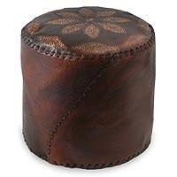 Leather ottoman cover, 'Flower of Peace' (dark brown) - Leather ottoman cover (Dark Brown)