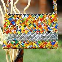 Recycled metalized wrapper shoulder bag, 'Eco-Fun' - Recycled metalized wrapper shoulder bag
