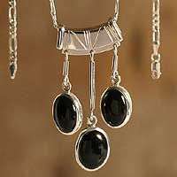 Obsidian waterfall necklace,