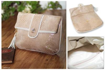 Leather clutch handbag, 'Beige Temptation' - Leather clutch handbag