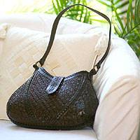 Leather shoulder bag, 'Hip Chic in Brown' - Leather shoulder bag