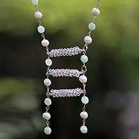 Pearl and amazonite necklace, 'Success' - Pearl and amazonite necklace