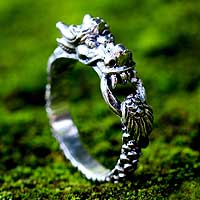 Men's sterling silver ring, 'Flying Dragon' - Men's sterling silver ring
