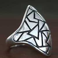 Men's sterling silver domed ring, 'Pyramidal Puzzle' - Men's sterling silver domed ring