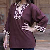 Cotton blouse, 'Cosmopolitan Earth' - Cotton blouse