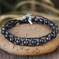 Black leather and pearl heart bracelet,