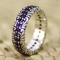Iolite band ring, 'Violet Path' - Iolite and Sterling Silver Band Ring from Bali
