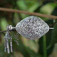 Sterling silver hairpin, 'Lanna Garden' - Ornate Sterling Silver Thai Hairpin with Floral Motifs