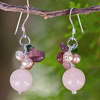Pearl and rose quartz cluster earrings, 'Romantic' - Pearl and rose quartz cluster earrings