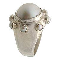 Pearl cocktail ring, 'Cherub Crown' - Pearl cocktail ring