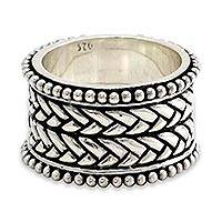 Men's sterling silver ring, 'Woven Wonder' - Men's sterling silver ring