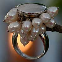 Pearl cluster ring, 'Gravity Power' - Pearl cluster ring