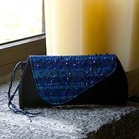 Beaded rayon clutch handbag, 'Atitlan Midnight' - Beaded rayon clutch handbag