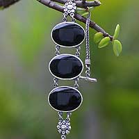 Obsidian beaded bracelet,