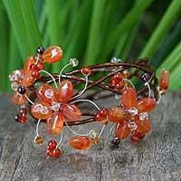 Carnelian and garnet wrap bracelet,