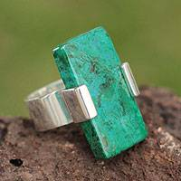 Chrysocolla cocktail ring, 'Hug' - Chrysocolla cocktail ring