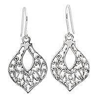 Sterling silver dangle earrings, 'Lace Petals' - Sterling silver dangle earrings