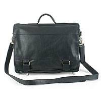 Leather laptop case, 'Universal' (double, black) - Leather laptop case (Double, Black)