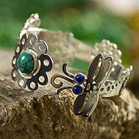Turquoise and sodalite cuff bracelet, 'Dragonfly Dreams' - Turquoise and sodalite cuff bracelet