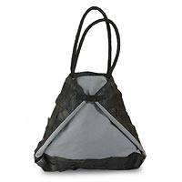 Cotton and recycled bicycle tire tote bag, 'Isosceles Eco Diva' - Cotton and recycled bicycle tire tote bag