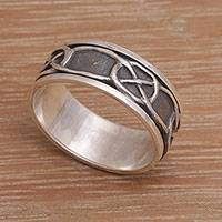Men's sterling silver spinner ring, 'Chains' - Men's sterling silver spinner ring