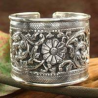 Sterling silver cuff bracelet, Sunflower