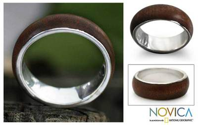 Sterling silver band ring, 'Love of Nature' - Sterling silver band ring