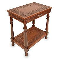 Mahogany and leather table, 'Andean Elegance' - Mahogany and Tooled Leather Accent Table