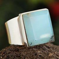Opal cocktail ring, 'Peruvian Sky' - Andean Opal and Sterling Silver Square Cocktail Ring