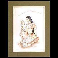 Miniature painting, 'Beautiful Vanity' - Miniature painting