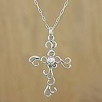 Sterling silver cross necklace, 'Gothic Lace' - Sterling silver cross necklace