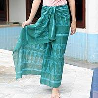 Batik cotton sarong, 'Fern Forest' - Batik cotton sarong
