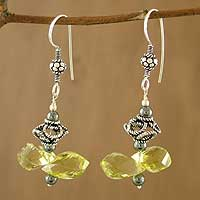 Lemon quartz and hematite dangle earrings,