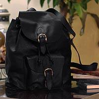 Leather backpack, 'Liquorice' - Leather backpack