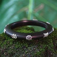 Wood bangle bracelet, 'Adinkra' - Wood bangle bracelet