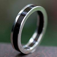 Men's silver and wood band ring, 'Integrity' - Men's silver and wood band ring