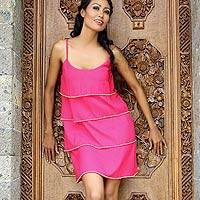 Beaded dress, 'Fuchsia Bali Flirt' - Beaded dress