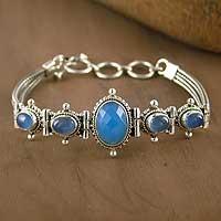 Blue chalcedony pendant bracelet,