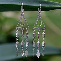 Sterling silver chandelier earrings, 'Floral Trapeze' - Sterling silver chandelier earrings