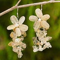 Pearl and quartz earrings, 'Peach Blossoms' - Pearl and quartz earrings