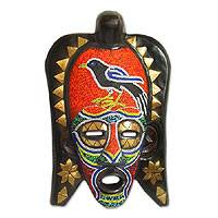 Ghanaian wood mask, 'Frafra Red Robin' - African wood mask