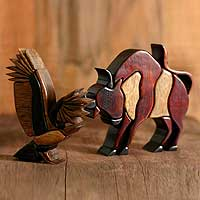 Cedar and mahogany sculptures, 'Yawar Festival' (pair) - Cedar and Mahogany Bull and Condor Sculptures (Pair)