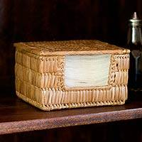 Palm leaf napkin holder,