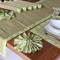 Cotton and natural fibers table set, 'Jade Forest' (set of 6) - Cotton and natural fibers table set (Set of 6)