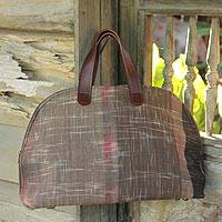 Cotton bowling handbag, 'Yom Shore' - Cotton bowling handbag